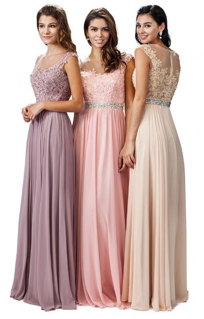 Embroidered Lace Sheer Top Long Formal Prom Dress