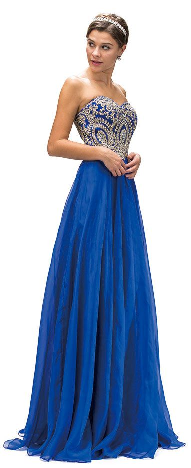 Strapless Lace Embroidered Bodice Long Formal Prom Dress
