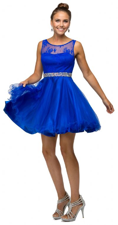 Illusion Sweetheart Neck Short Tulle Homecoming Party Dress