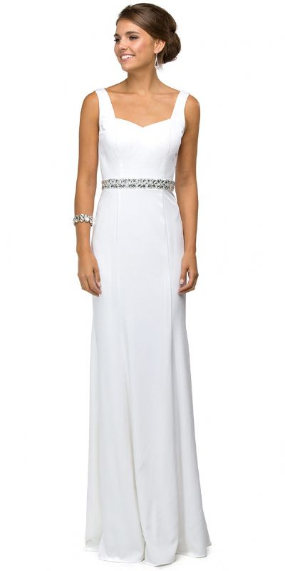 Wide V-Neck Beaded Waist Long Formal Prom Dress
