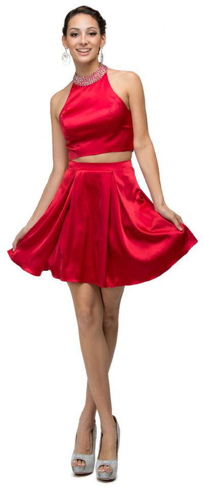 Jeweled Collar Two Piece Short Homecoming Party Dress