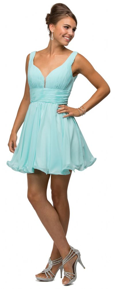 V-Neck Ruched Bodice Short Homecoming Bridesmaid Dress