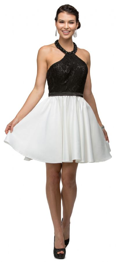 Halter Lace Top Beaded Neck Short Homecoming Party Dress