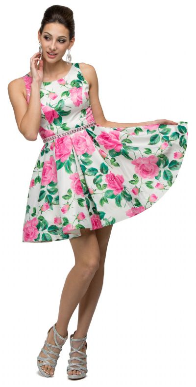 Floral Print Cut-Out Back Sleeveless Short Homecoming Dress