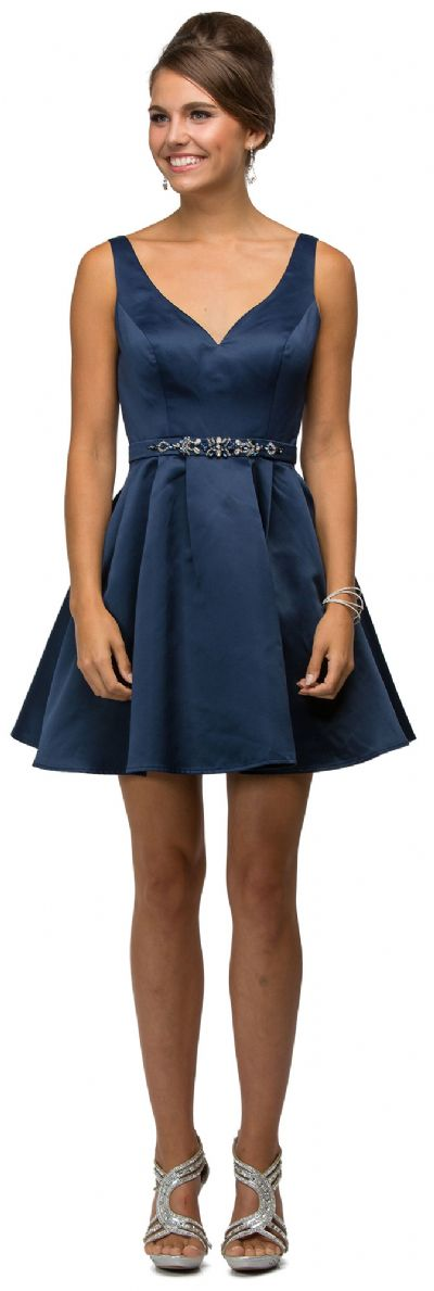 V-Neck Fit & Flare Short Homecoming Party Dress