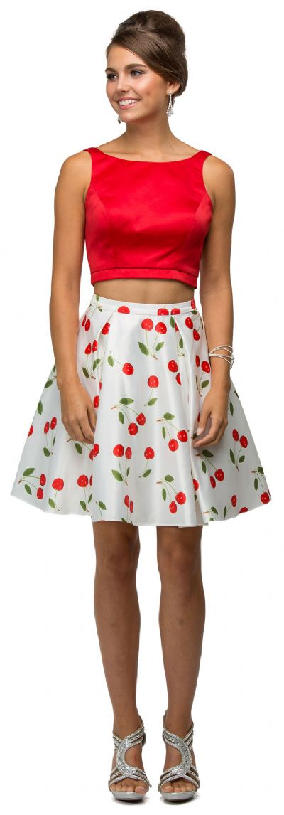 Cherry Print Short Two Piece Party Homecoming Dress