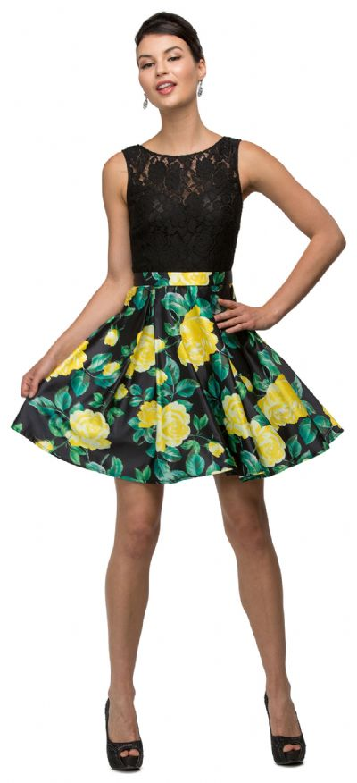 Lace Top Floral Skirt Short Homecoming Party Dress