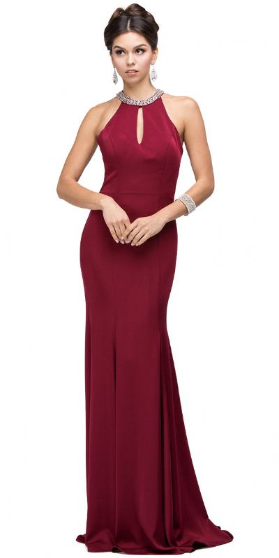 Jeweled Collar Cut Out Back Long Jersey Prom Dress