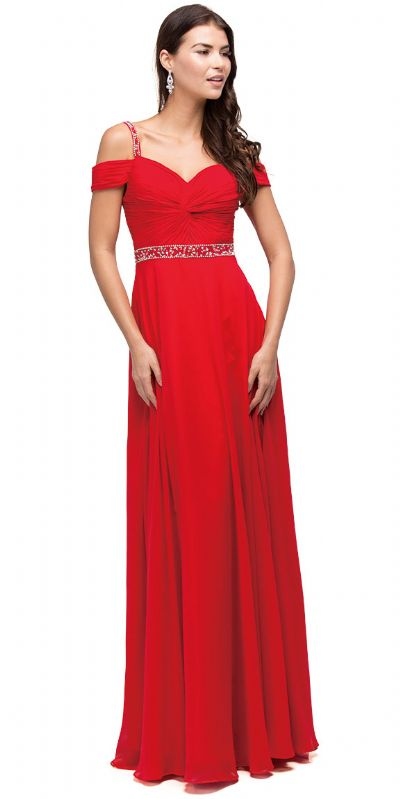 Cold Shoulder Beaded Waist Long Bridesmaid Prom Dress