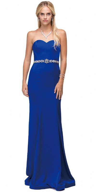 Sweetheart Neck Rhinestones Waist Long Jersey Prom Dress