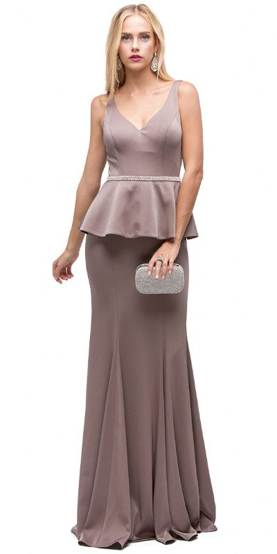 Deep V-Neck Peplum Bodice Long Formal Prom Dress