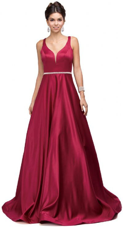 V-Neck Bejewel Waist Floor Length Puffy Prom Pageant Dress
