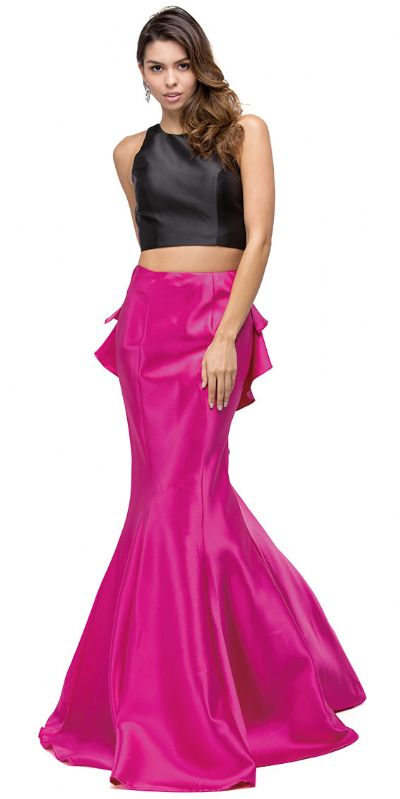 Short Top Long Ruffled Back Skirt Two Piece Prom Dress