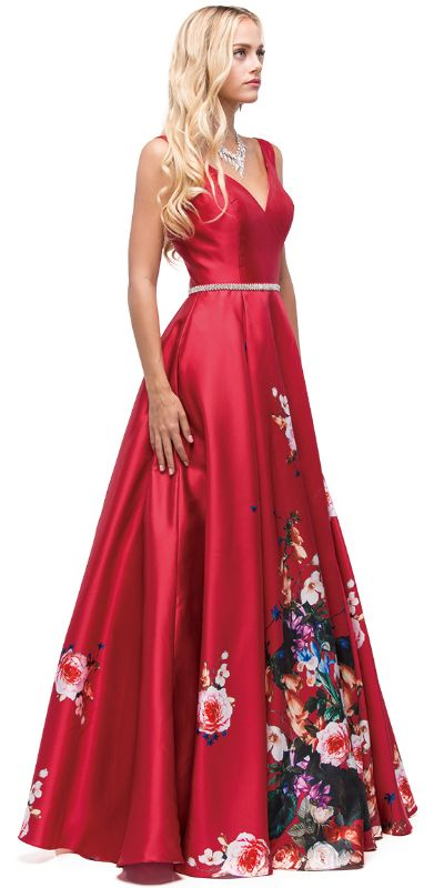 V-Neck Floral Print Rhinestones Waist A-line Long Prom Dress