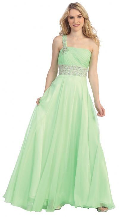One Shoulder Rhinestones Waist Long Formal Prom Dress