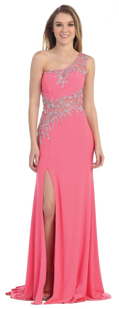 One Shoulder Web Beaded Pattern Long Prom Pageant Dress