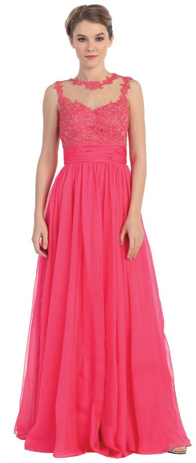 Floral Lace Bust Full Length Formal Prom Dress