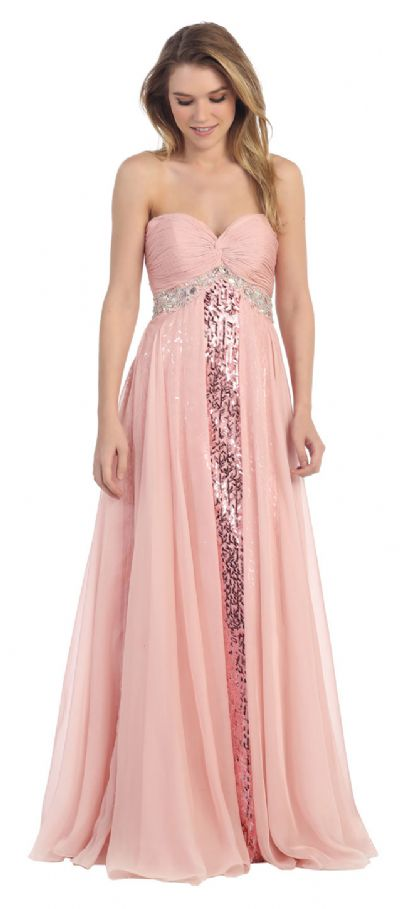 Strapless Sequins Inner Skirt Long Formal Prom Dress