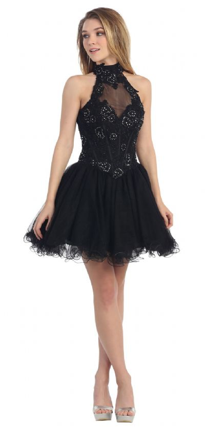 Halter Neck Lace Bodice Mesh Short Party Prom Dress