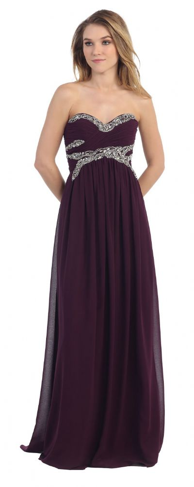 Strapless Empire Beaded Bust Long Formal Evening Dress