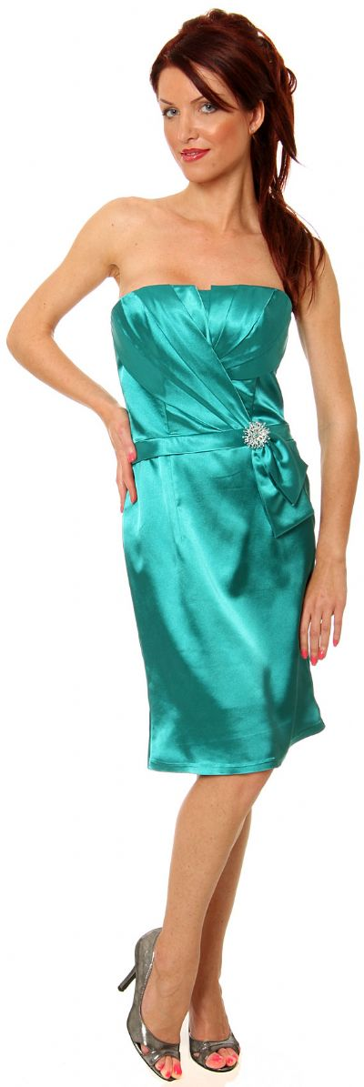 Pleated Bodice Cocktail Dress with Sash and Brooch Applique