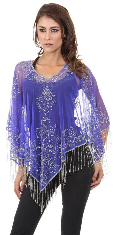Broad V-Neck Beaded Mesh Poncho with Fringes