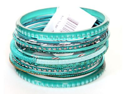 Set of 15 Turquoise Colored Bangle Bracelets