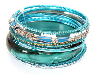Set of 12 Turquoise Colored Bangle Bracelets