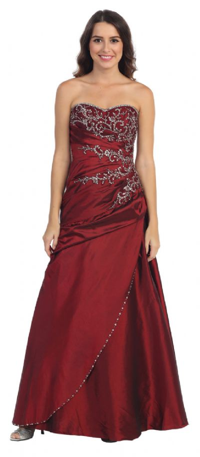 Strapless Asymmetric A-Shape Beaded Long Formal Prom Dress