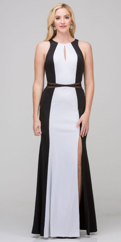 High Neck Color Block Mesh Insert Long Formal Evening Dress