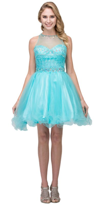 High Neck Bejeweled Bodice Mesh Short Homecoming Dress
