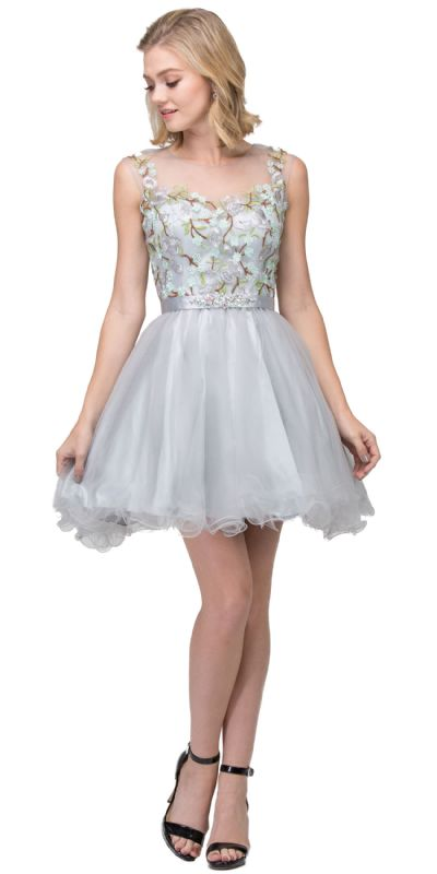 Floral Embroidery Mesh Top Short Tulle Homecoming Dress