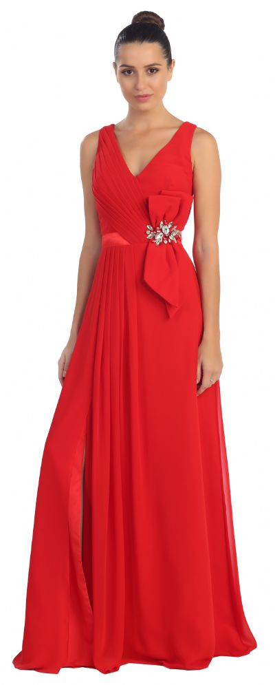 V-Neck Pleated Bow Accent Long Formal Prom Dress