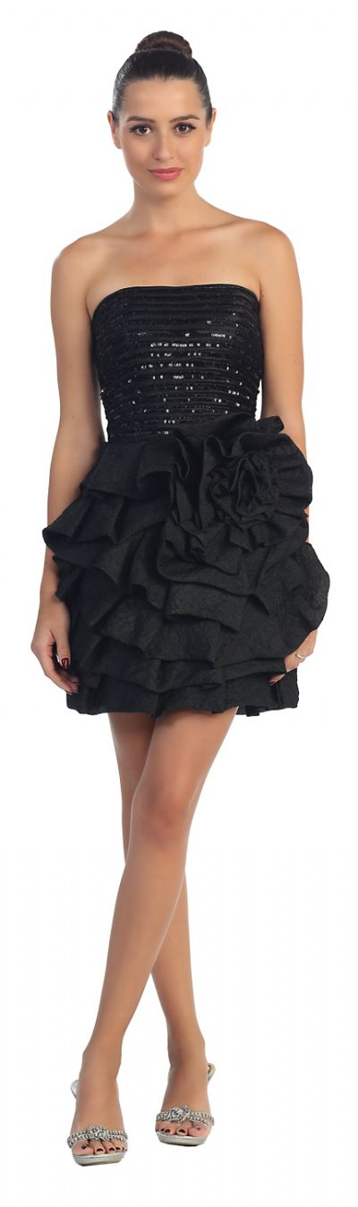 Strapless Sequined Frilly Floral Applique Short Party Dress