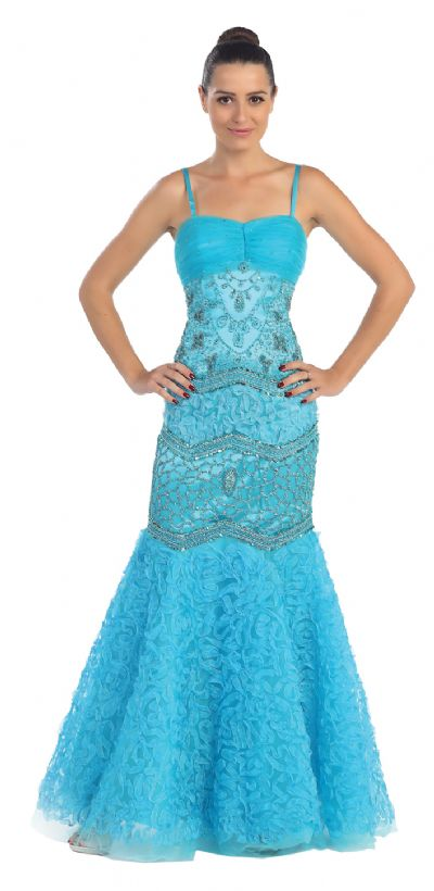 Mermaid Style Beaded Mesh Long Formal Prom Dress
