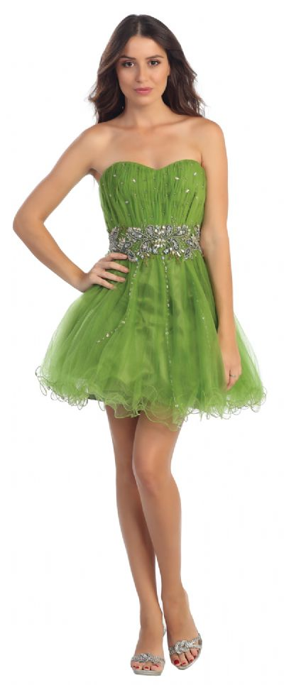 Strapless Exquisite Beaded Waist Tulle Party Prom Dress