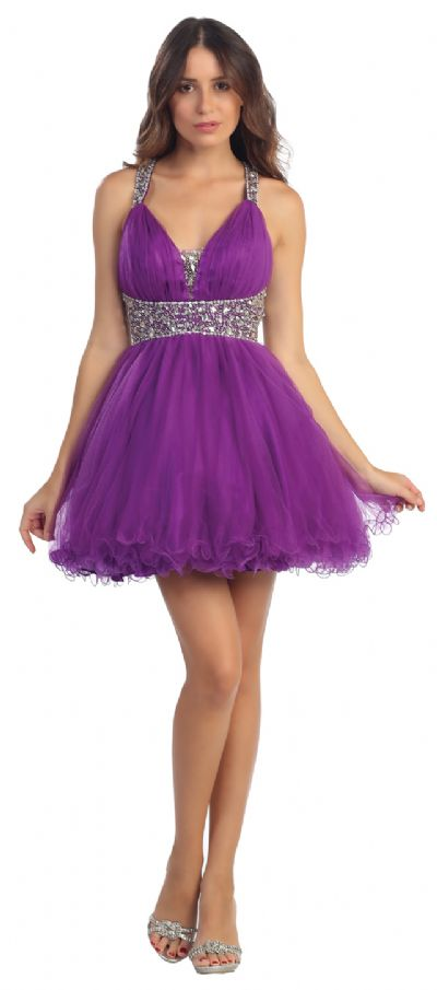 Broad Straps Beaded Waist Ruffled Short Party Prom Dress