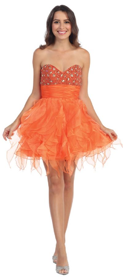 Strapless Organza Beaded Prom dress with Ruffled Skirt