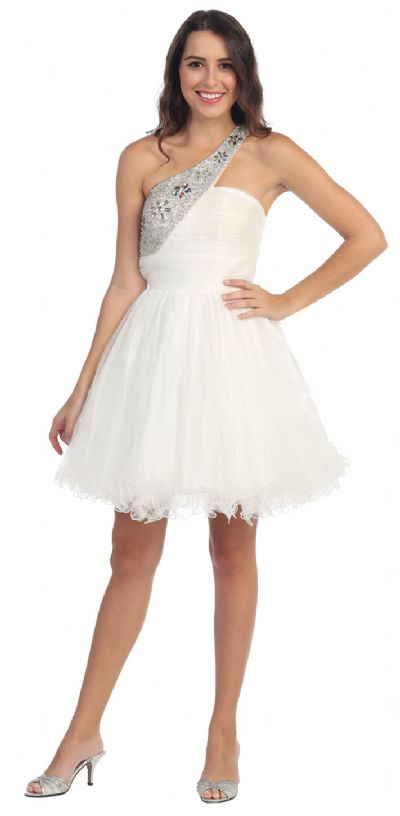 Sequined One Shoulder Tulle Short Party Prom Dress