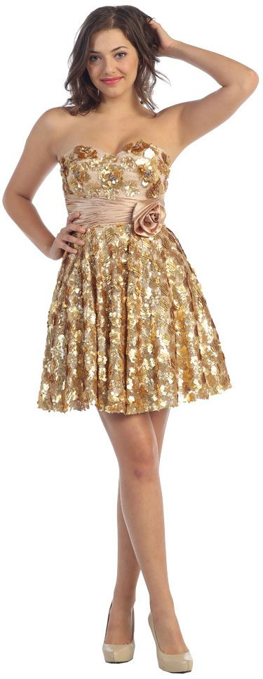 Strapless Short Sequined Prom Dress with Floral Applique