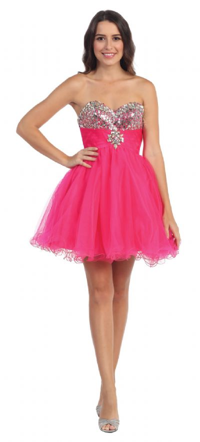 Strapless Sequins Bust Mesh Short Party Prom Dress