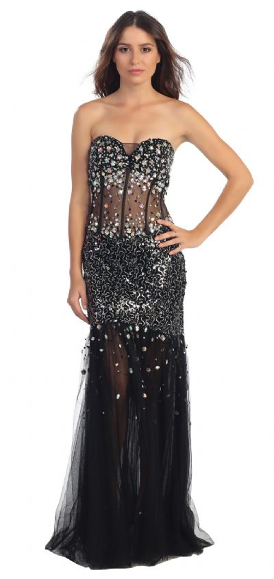 Strapless Sequins & Beads Floor Length Formal Prom Dress