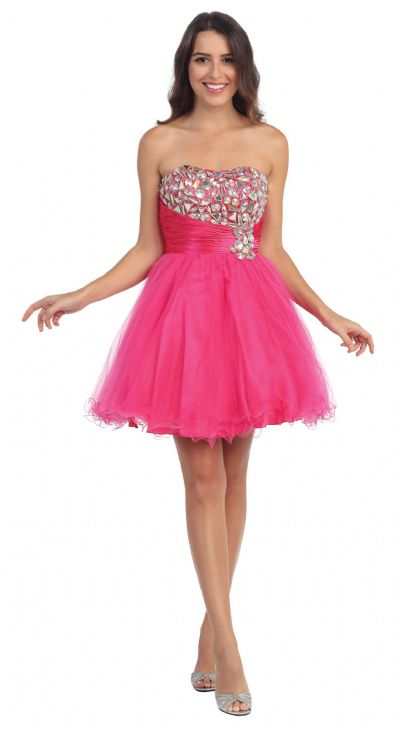 Strapless Rhinestones Bust Short Tulle Prom Party Dress