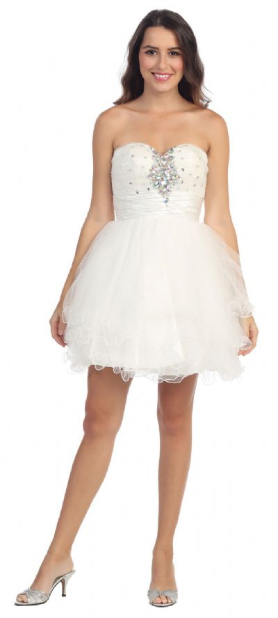 Strapless Rhinestones Bust Short Prom Party Dress
