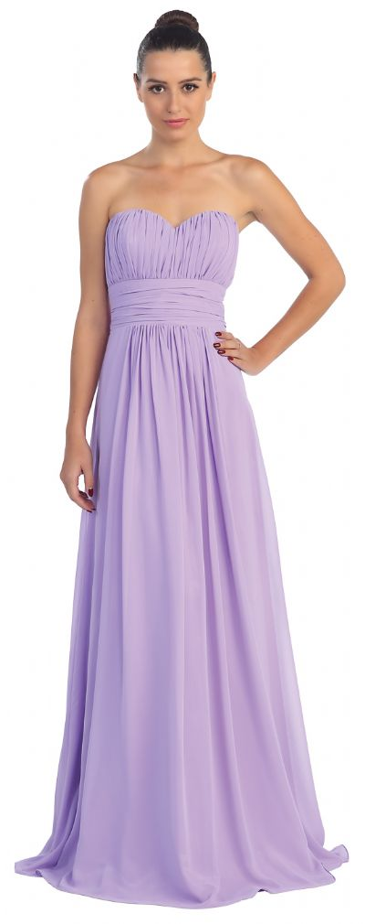 Strapless Shirred Bust Long Formal Bridesmaid Dress