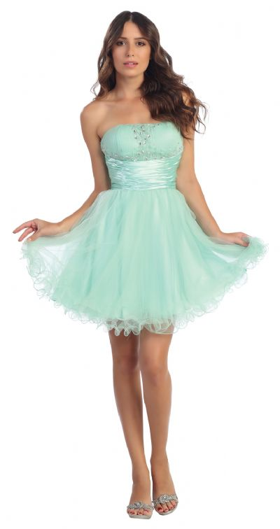 Strapless Short Party Dress in Mesh with Beaded Bust