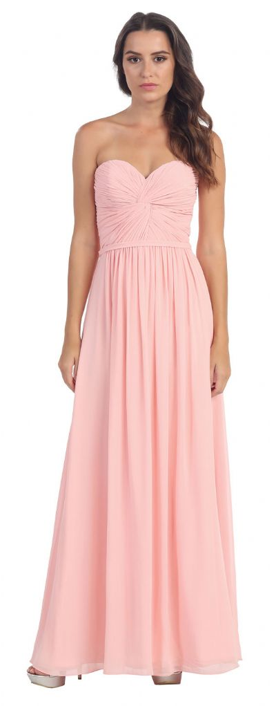 Strapless Twist Knot Bust Long Formal Bridesmaid Dress