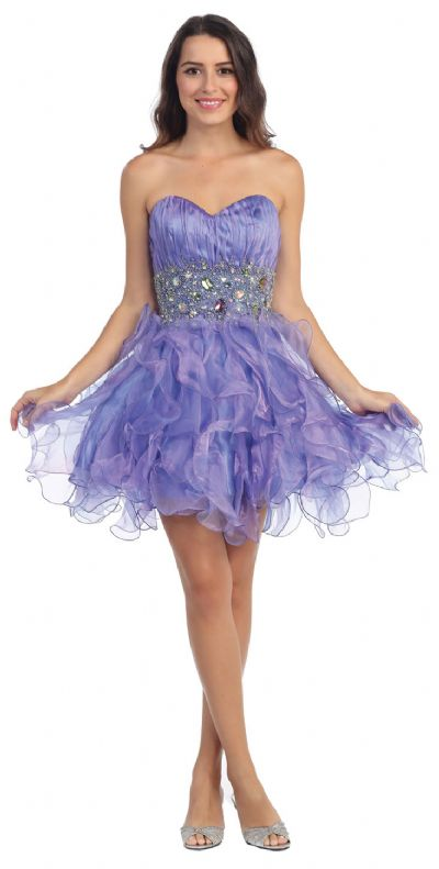 Strapless Rhinestone Waist Ruffled Short Party Prom Dress