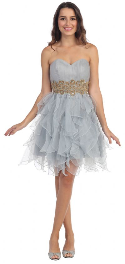 Strapless Layered Skirt Organza Short Party Prom Dress