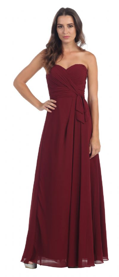 Strapless Pleated Bust Long Formal Bridesmaid Dress
